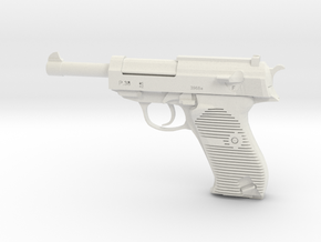 1/4 Scale Walthers P38 Pistol  in White Natural Versatile Plastic