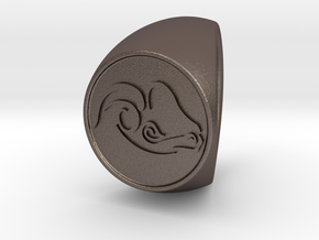 custom signet ring 80 in Polished Bronzed Silver Steel