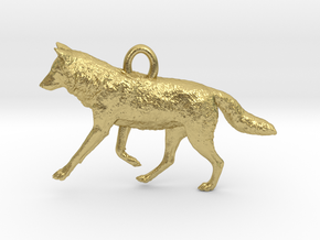 Running Wolf Pendant in Natural Brass