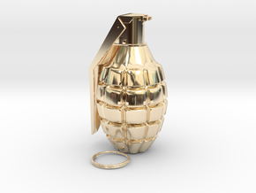 1/4th Scale Pineapple Hand Grenade in 14K Yellow Gold