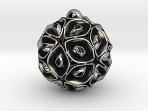 View of spherical games - part three. Pendant in Antique Silver
