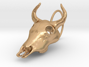 Bullskull Earrings in Natural Bronze