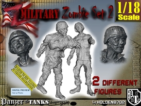 1-18 Military Zombie Set 2 in White Natural Versatile Plastic