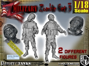 1-18 Military Zombie Set 3 in White Natural Versatile Plastic