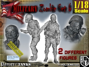 1-18 Military Zombie Set 6 in White Natural Versatile Plastic