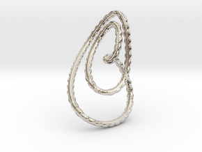Textured loop pendant necklace in Rhodium Plated Brass