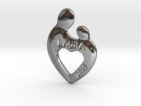 heart baby Pendant in Polished Silver