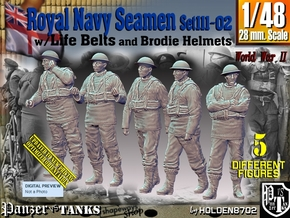 1/48 Royal Navy Seamen Set111-02 in Smooth Fine Detail Plastic