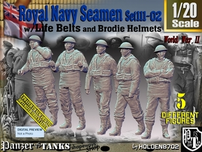 1/20 Royal Navy Seamen Set111-02 in White Natural Versatile Plastic