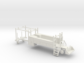MOW Rail Truck 2 Door Cab Tool Bed 1-87 HO Scale in White Natural Versatile Plastic