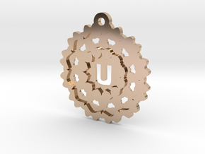 Magic Letter U Pendant in 14k Rose Gold Plated Brass