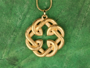 Fatherhood Knot Pendant in Matte Gold Steel: Medium