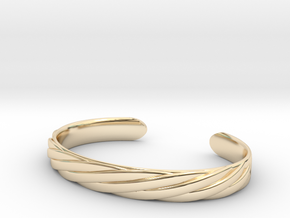 Twisted Rope Design Cuff Bracelet Large in 14K Yellow Gold