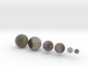 6 Moons of Saturn set 1:150 million in Natural Full Color Sandstone