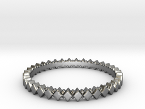 Rhombus Double Layer Band Ring in Polished Silver: 4 / 46.5