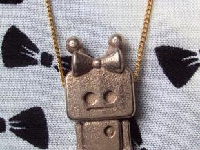 tiny Girl Robot pendant in Polished Bronzed Silver Steel
