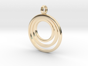 Circle Necklace_3 rings_1 inch v1 in 14K Yellow Gold: Medium