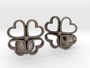 Floral Heart Cufflinks in Polished Bronzed-Silver Steel