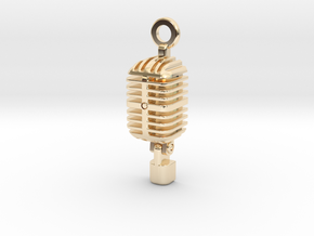 Classic Microphone Pendant in 14k Gold Plated Brass