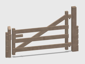 Wood Gate - L-Out Swing - Barbed Wire in White Natural Versatile Plastic: 1:87 - HO
