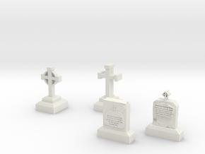 grave stone (20-25mm) in White Natural Versatile Plastic