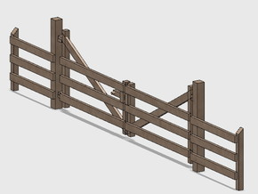 Wood Gate - Double in Smooth Fine Detail Plastic: 1:87 - HO