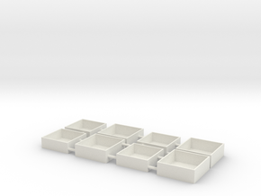 Miniature Gift Box 3/4 inch Square by 1/4 inch dp in White Natural Versatile Plastic