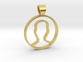 User face [pendant] in Polished Brass