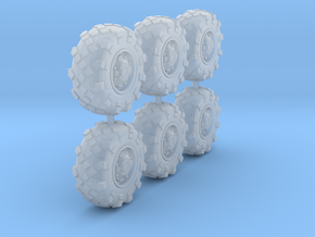 25mm diameter BTR-style wheels x6 in Smooth Fine Detail Plastic
