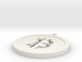 Bitcoin Keychain in White Natural Versatile Plastic