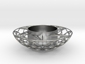 Round Tealight Holder in Natural Silver
