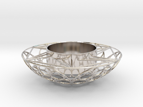 Round Tealight Holder in Rhodium Plated Brass
