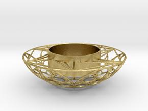 Round Tealight Holder in Natural Brass