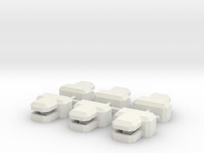 """T"" Bunker x6 in White Natural Versatile Plastic"