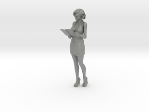 HO Scale woman with notepad in Gray Professional Plastic