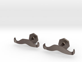 Handlebar Mustache Cufflinks in Polished Bronzed-Silver Steel