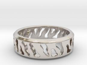 Tiger Stripe Ring in Rhodium Plated Brass: 5 / 49