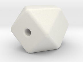 Geo Cube Bead in White Natural Versatile Plastic