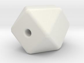 Geo Cube Bead in White Natural Versatile Plastic