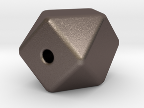 Geo Cube Bead in Polished Bronzed-Silver Steel