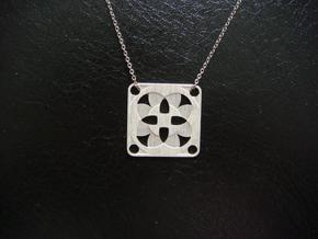 Square Pendant or Charm - Four Fountains in Natural Silver