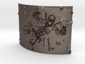 deadpool Curved Lithophane in Polished Bronzed-Silver Steel