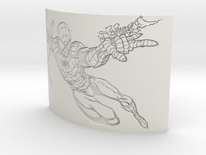 Spiderman Curved Lithophane in White Natural Versatile Plastic