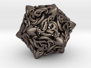 Cthulhu D20  in Polished Bronzed Silver Steel