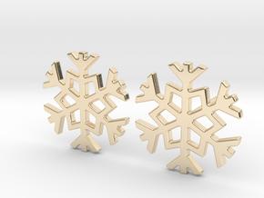 Snowflake earrings in 14k Gold Plated Brass