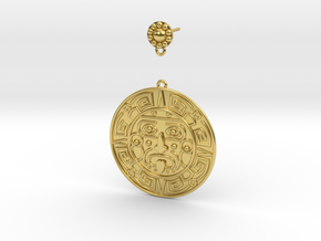 Aztec Dangle Earring (single) in Polished Brass