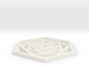 Hexa Coaster in White Natural Versatile Plastic: Small
