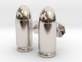 45 ACP Cartridge Cufflinks in Rhodium Plated Brass