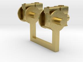 Stationärmotor mit Transmissionsabtrieb 2erSet TT  in Natural Brass
