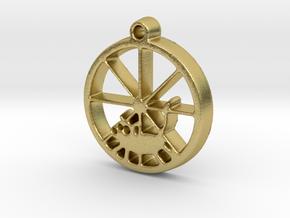 Gerbil Wheel Pendant in Natural Brass
